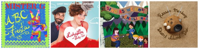 4 of the best of the latest kids' music album releases: Recess Monkey, Charlie Hope, Mister G, and Lucky Diaz