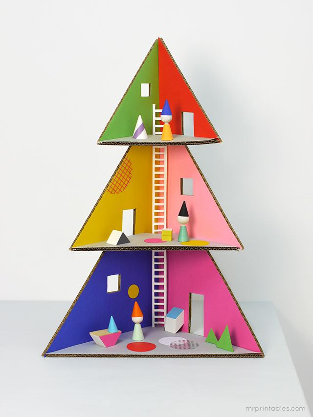 Turn a cardboard box into a DIY Christmas dollhouse - Cool ...