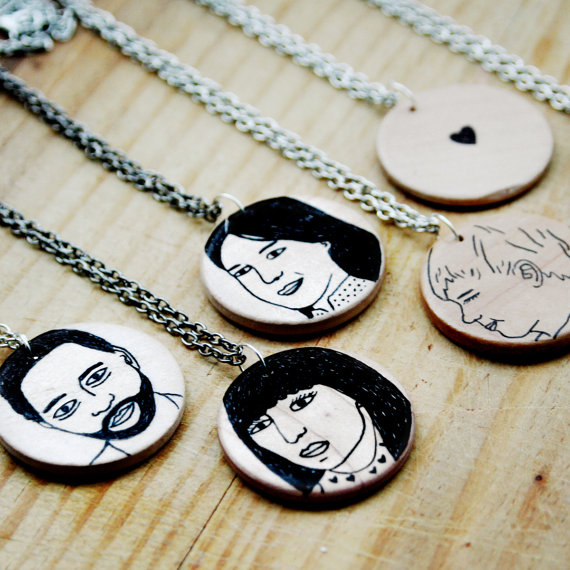 Custom portrait pendants: A modern mom jewelry alternative. (Just uh, don't wear your own portrait.)