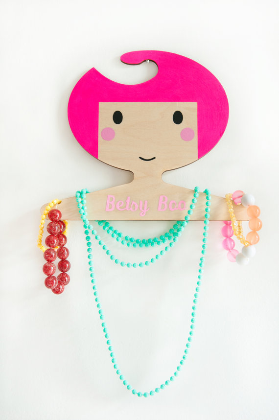 Personalized wooden hangers: Just girlie enough