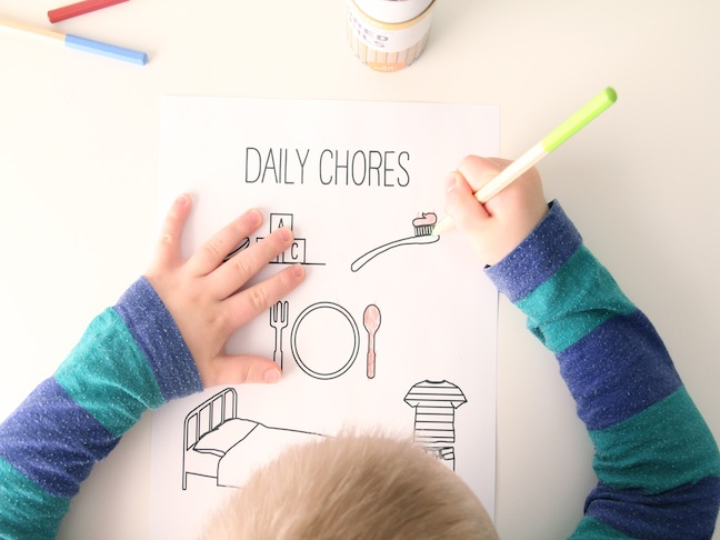 A free printable chore chart we love for preschoolers. No bribing necessary.