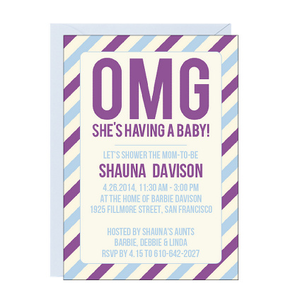 Cool baby shower invitations - OMG card at Paper Source | Cool Mom Picks