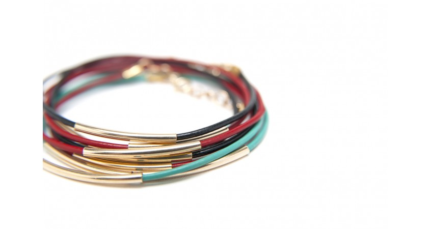 Wrap yourself in pretty with a stack of leather wrap bracelets.