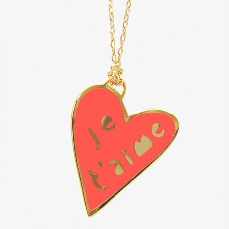 Say Je T'aime on Valentine's Day with a playful heart pendant