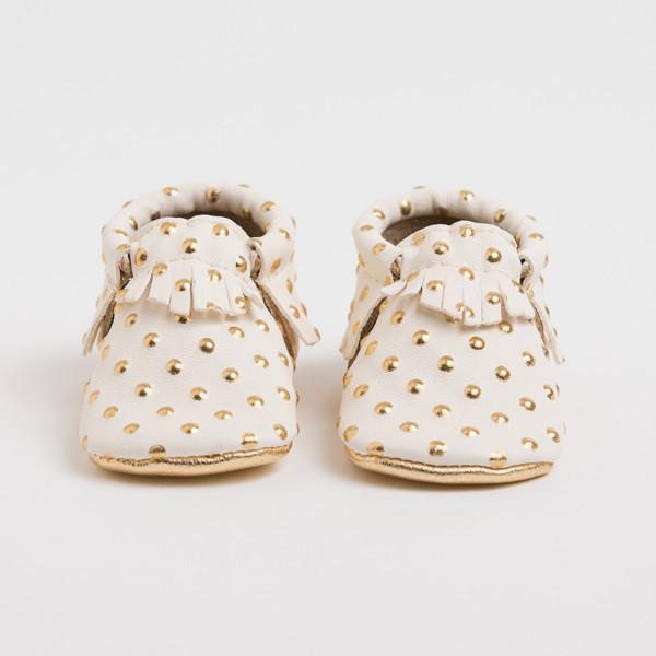Handmade leather baby moccasins at Freshly Picked | Cool Mom Picks