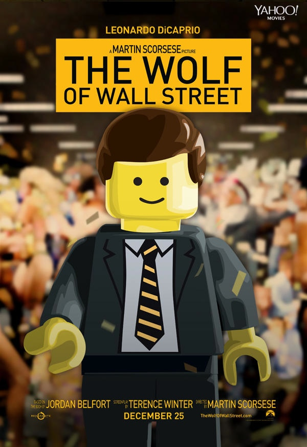 wolf of wall street movie poster with legos