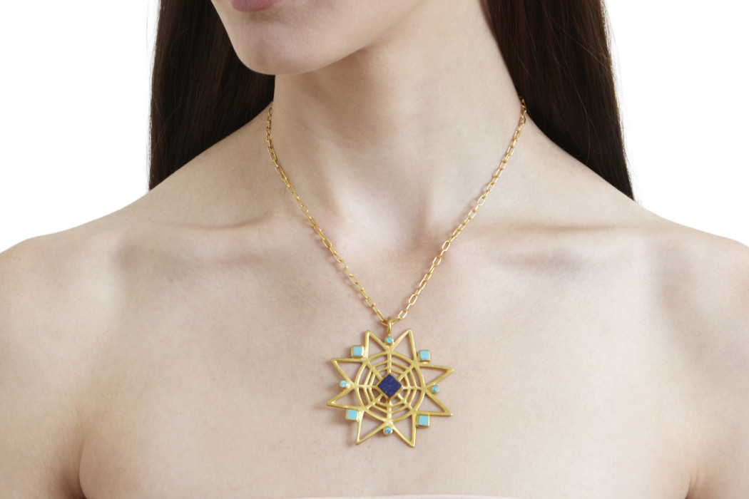 Gifts that give back: star necklace with lapis and turquoise to support training of afghan artists