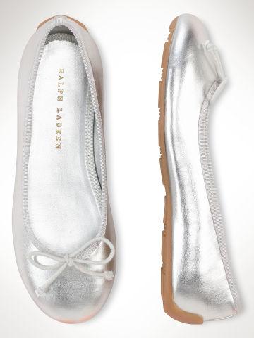 Silver metallic ballet flats for girls at Ralph Lauren