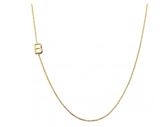 Custom jewelry for mom: Asymmetrical mini letter necklace at Charm & Chain