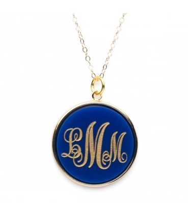 Custom jewelry for mom: Monogram acrylic pendant by Moon & Lola
