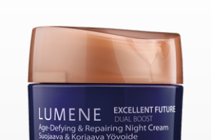 An anti-aging cream from Lumene skin care that gives us one more reason to look forward to bedtime.