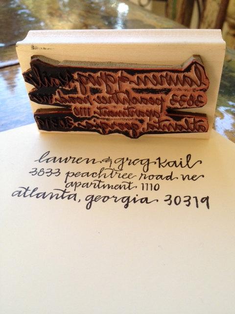 custom address stamp by hard ink calligraphy