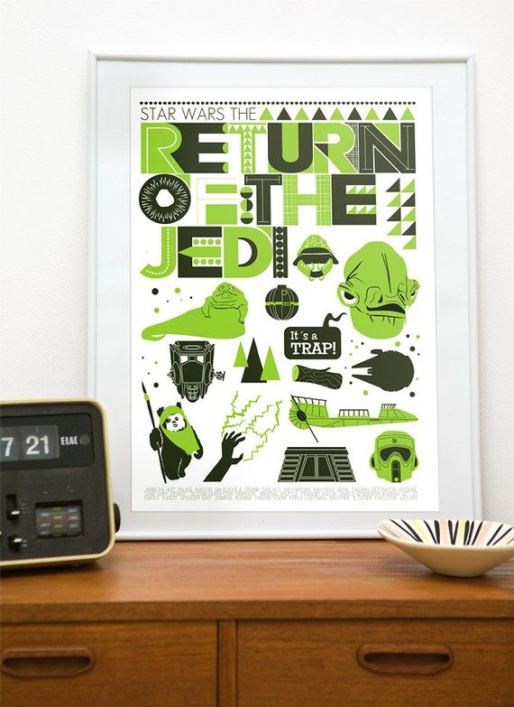 moder retro star wars poster at the handz shop on Etsy