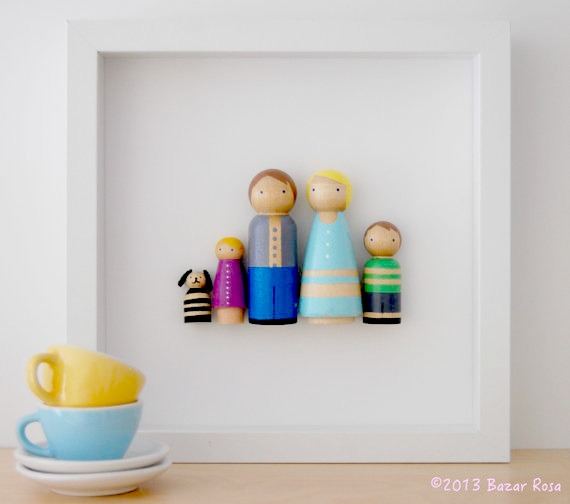 Custom peg dolls that become fun, modern family portraits. Bonus: you don't have to pose on a chaise lounge.