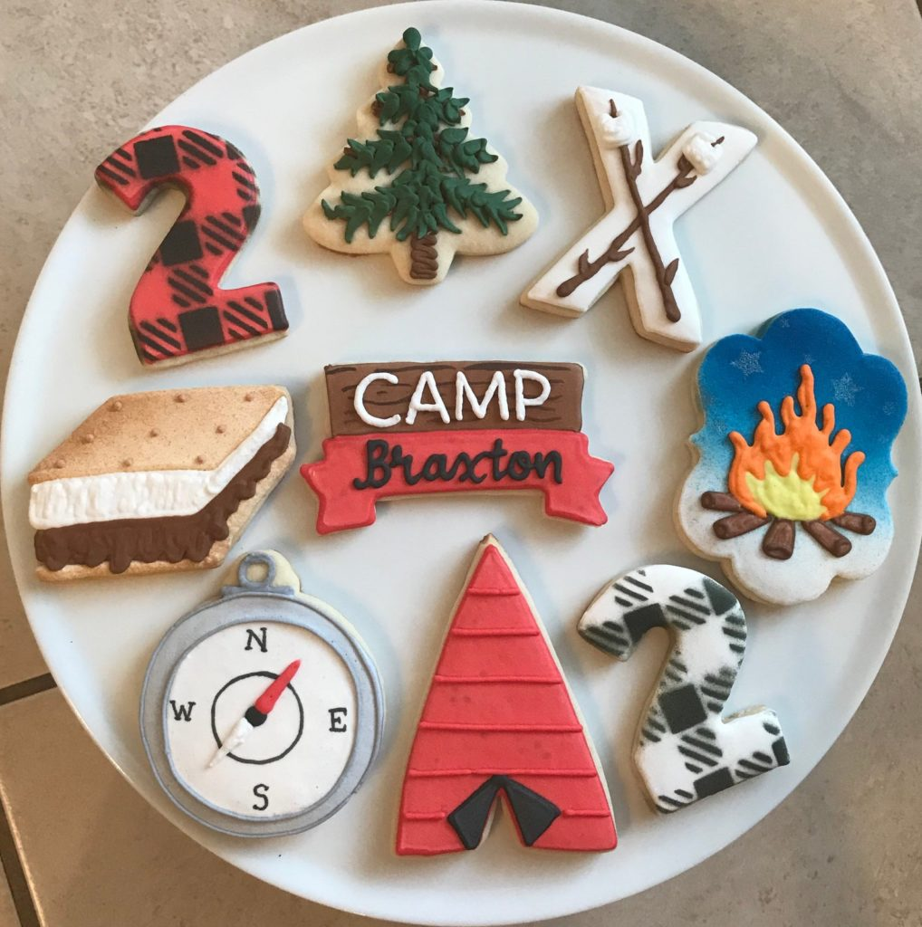 Camp care package cookies from Cookie Couture