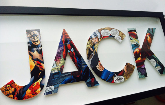Custom superhero gift for dad: Comic book letters from Spotted Flats