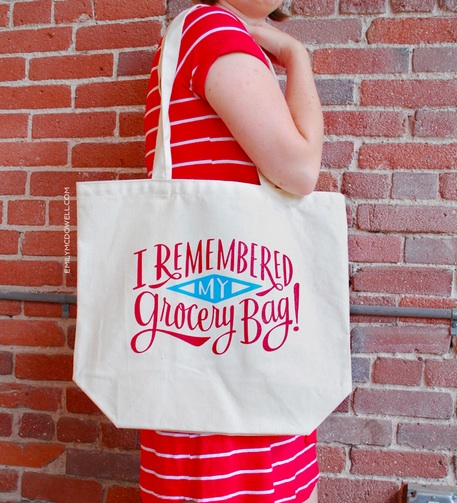 I Remembered my Grocery Bag! reusable shopping bag at Emily McDowell