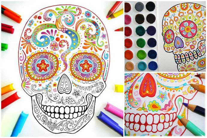 This is a graphic of Printable Sugar Skull Coloring Pages with regard to superhero