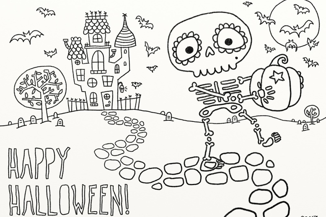 Printable skeleton Halloween coloring page at Vice Vega