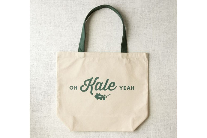 Oh Kale Yeah! reusable grocery tote bag at West Elm