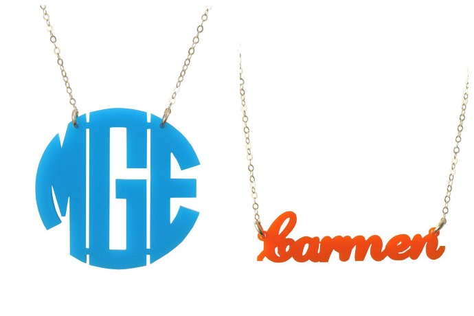 Cool personalized jewelry gifts for the holidays, now 20% off. Yes, please.