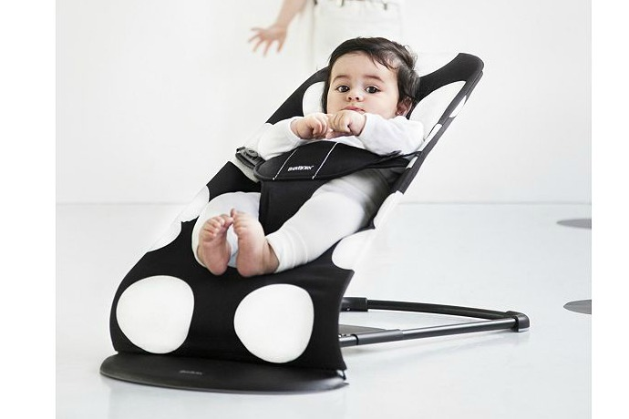 The BabyBjorn bouncer gets a modern makeover with polka dots