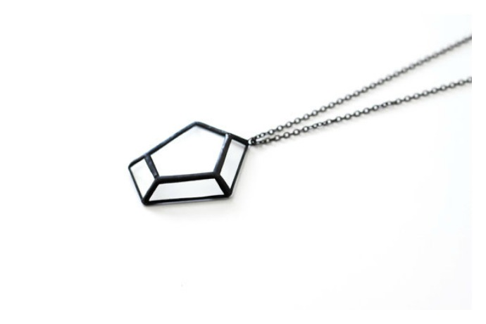 What's our angle? These cool origami-inspired stained glass necklaces.