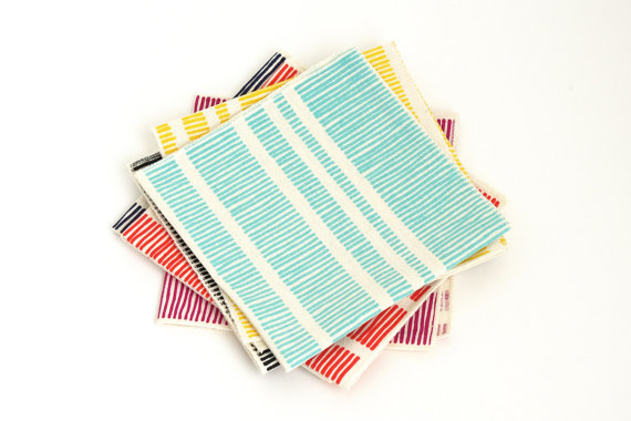Linen Cloth Napkins handprinted by Etsy's Shapes Colors