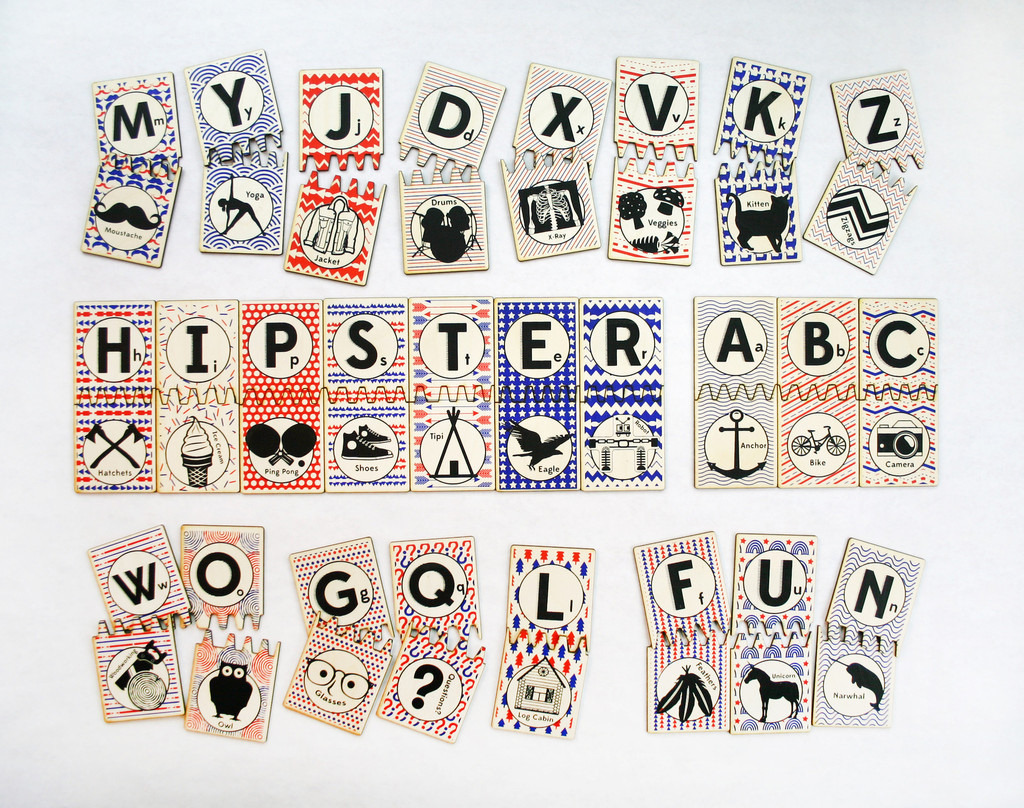 The hipster ABC matching tile game, for parents who value reading proficiency and irony.