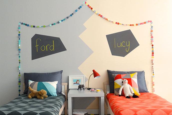 Paint inspiration for 4 cool colorful diy decor projects for Decorar habitacion nino y nina juntos