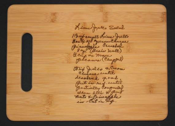 custom engraved cutting boards with a keepsake recipe