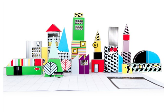 A paper block city that's ready to travel with your kids