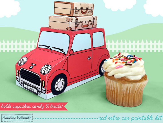 Retro-cool printable gift boxes full of summer fun. And yummy treats.