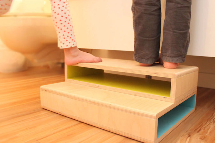 7 fun, modern, handmade wooden step stools for kids. Because nice ones are harder to find than you'd think!
