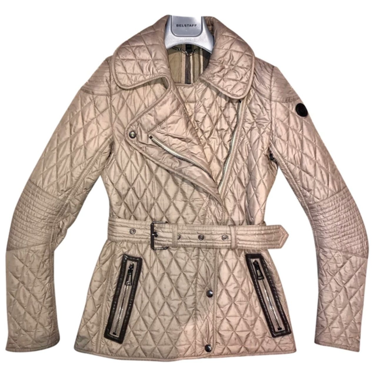 Comparison of best consignment shops: Belstaff quilted metallic jacket at Vestiare Collective