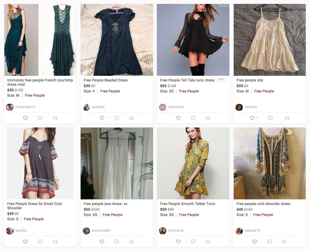 Comparing the top consignment shops: Free People selection at Poshmark