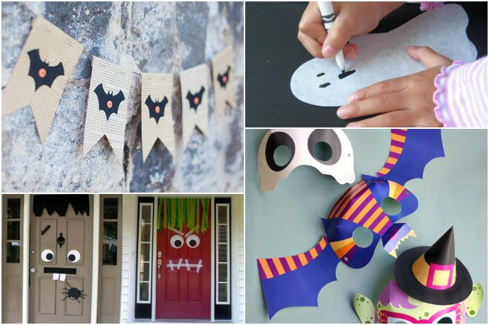 Easy, fun Halloween papercrafts for kids that don't require anything you don't have in the house already. (You have scissors, right?)