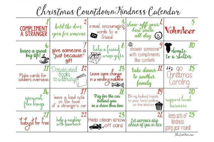 Counting down to Christmas with acts of kindness