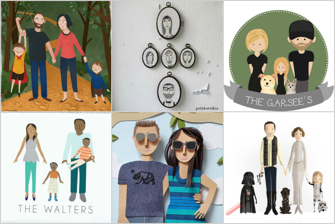20 incredible, modern custom illustrated family portraits that make the most special gift ever.