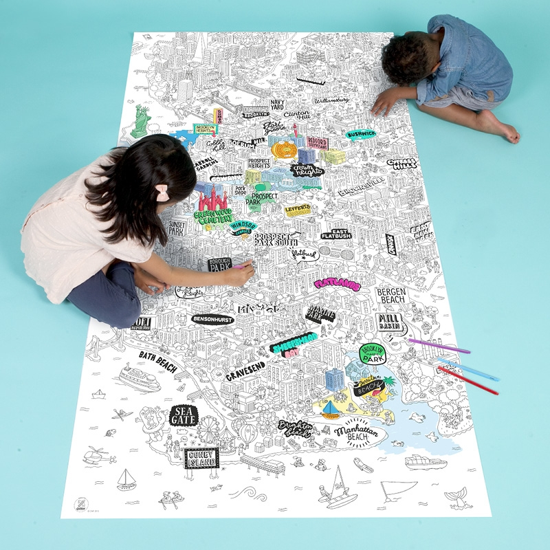 OMY giant coloring pages of countries, or cities like Tokyo, Paris, or Brooklyn