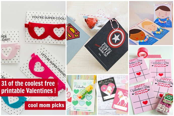 30 super cool printable Valentine's Day cards for the classroom, all free or close to it.