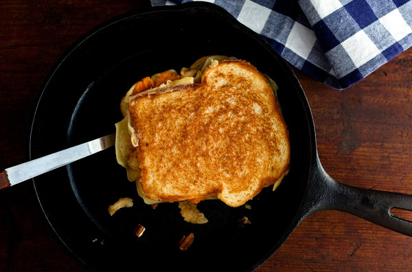 Pecan and sweet potato grilled cheese: all the decadence of the holidays in an any-time treat | NYT Cooking