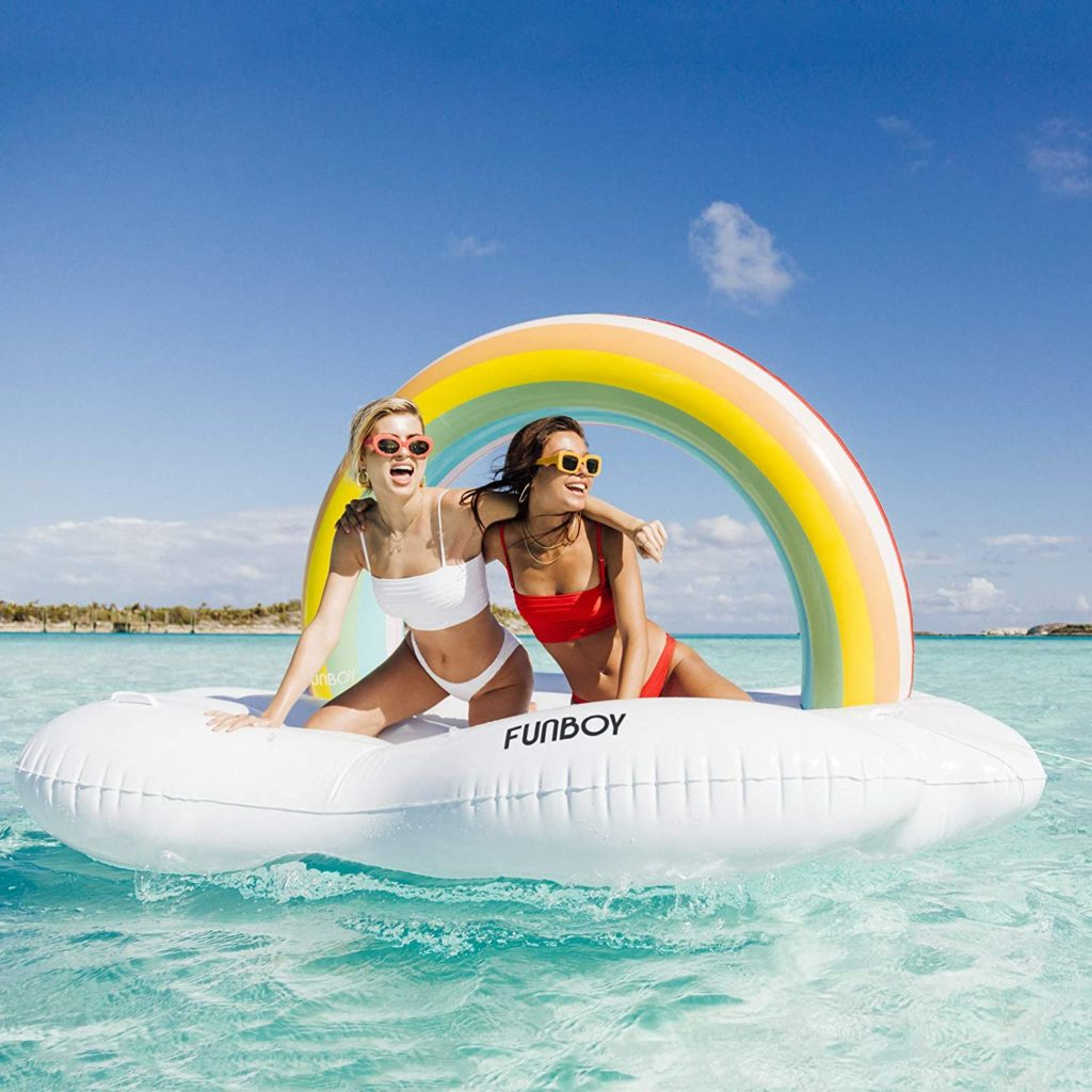 Funboy rainbow daybed float for two -- for safe social undistancing!