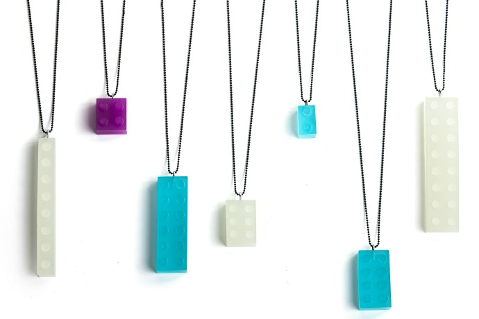Resin Building Block Necklaces