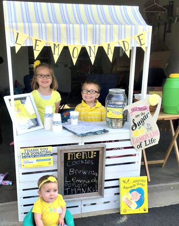 Give back by raising money to fight childhood cancers with a lemonade stand for Alex's Lemonade Stand Foundation.