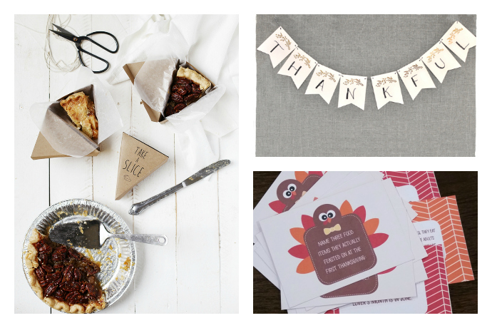 13 amazing, free Thanksgiving printables from a cute pie box to a fun I Spy game for kids.