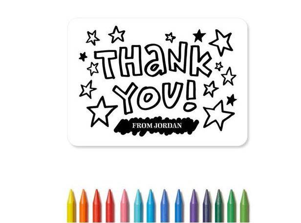 "These ""Color Me Grateful"" thank you cards from Tiny Prints make saying thanks a fun activity."