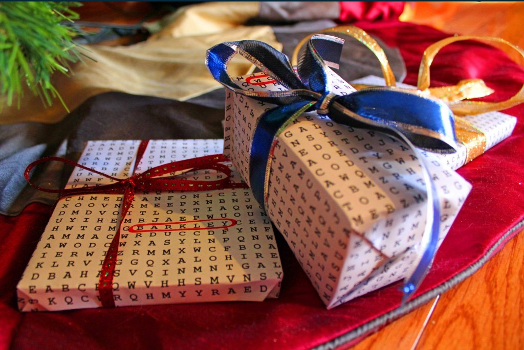 DIY word search gift wrap idea from Grasping for Objectivity