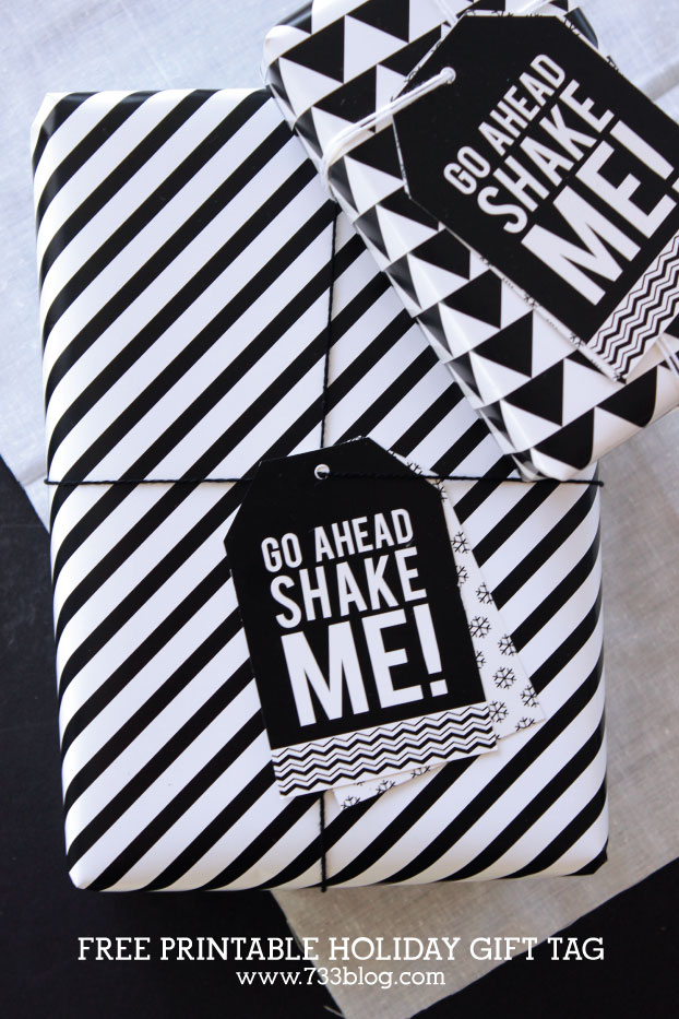 Shake Me printable gift tags by Seven Thirty Three are our favorites for mod wrapped gifts.