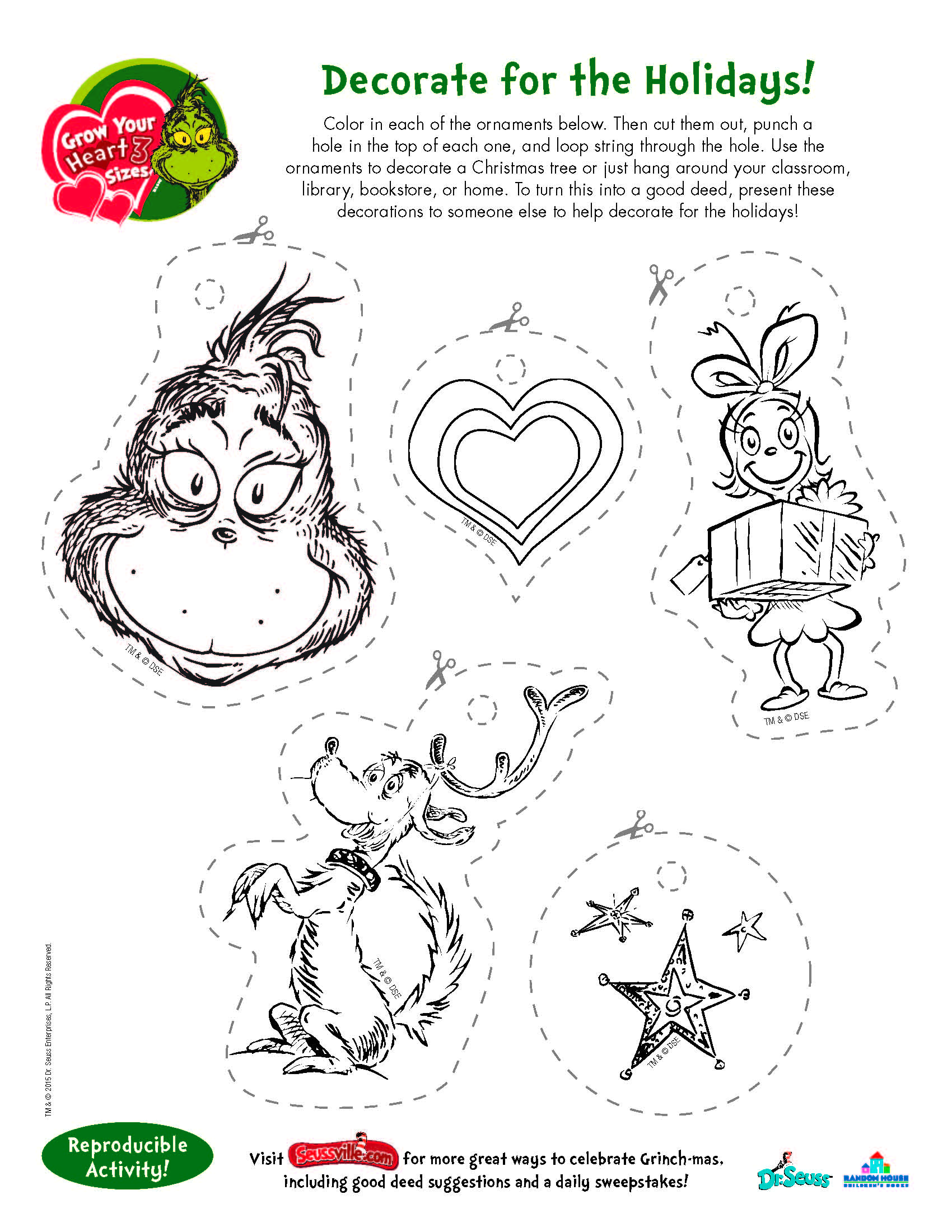 Free printable DIY Grinch ornaments page for kids to color